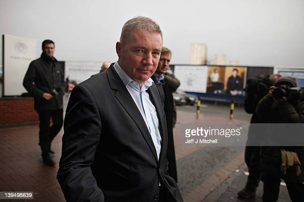 Ally McCoist coach of Rangers leaves the stadium with businessman David King on February 22 2012 in Glasgow Scotland Rangers were put into...