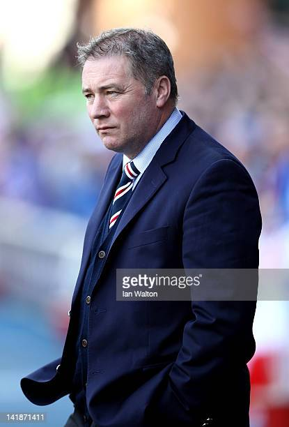 Ally McCoist coach of Rangers looks on during the Clydesdale Bank Scottish Premier League match between Rangers and Celtic at Ibrox Stadium on March...