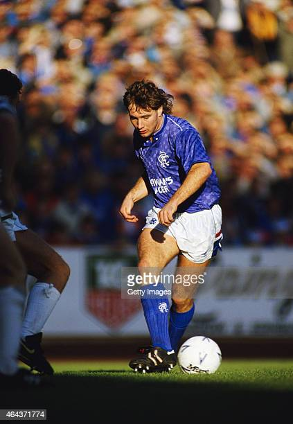 Ally McCoist of Rangers in action during a Rangers v Celtic game at Ibrox on October 17 1987 in Glasgow Scotland