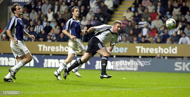 Ally McCoist scoring during Sky One's 'The Match' between The Celebrities and The Legends at St James Park in Newcastle Sctoland on October 9 2005