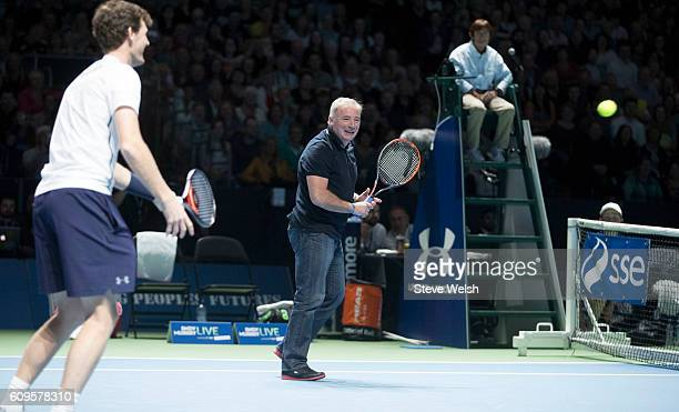 Ally McCoist teams up with Jamie Murray during Andy Murray Live presented by SSE at the SSE Hydro on September 21 2016 in Glasgow Scotland