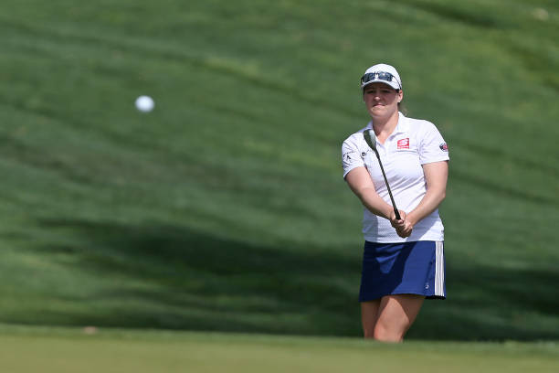 Ally McDonald chips onto the green on the 11th hole during the proam for the ANA Inspiration on the Dinah Shore course at Mission Hills Country Club...