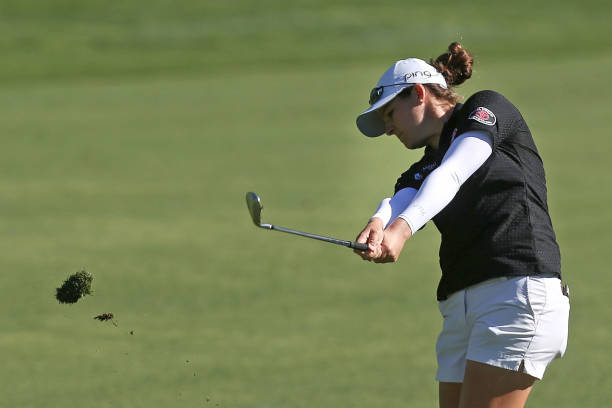 Ally McDonald hits her second shot on the 10th hole during the second round of the ANA Inspiration on the Dinah Shore course at Mission Hills Country...