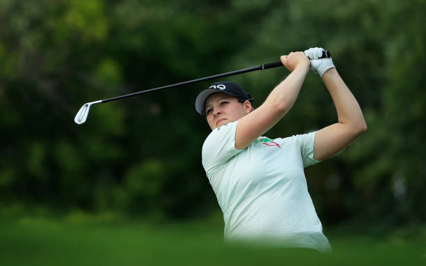 Ally McDonald hits her tee shot on the 12th hole during the second round of the Indy Women In Tech Championship Driven by Group 1001 held at the...
