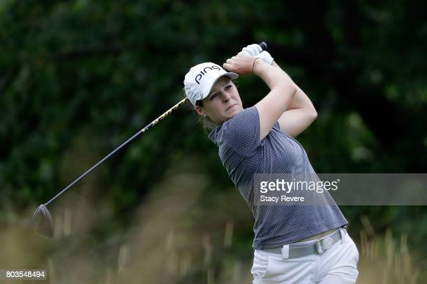 Ally McDonald hits her tee shot on the fifth hole during the first round of the 2017 KPMG PGA Championship at Olympia Fields Country Club on June 29...