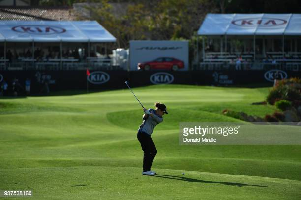 Ally McDonald hits off the 18th fairway during Round Three of the LPGA KIA CLASSIC at the Park Hyatt Aviara golf course on March 24 2018 in Carlsbad...