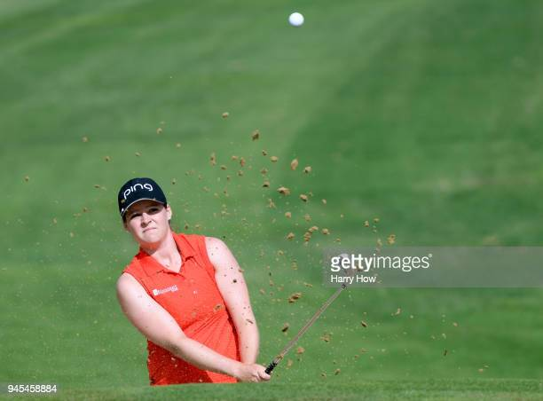Ally McDonald hits out of a bunker on the 13th hole during the second round of the LPGA LOTTE Championship at the Ko Olina Golf Club on April 12 2018...