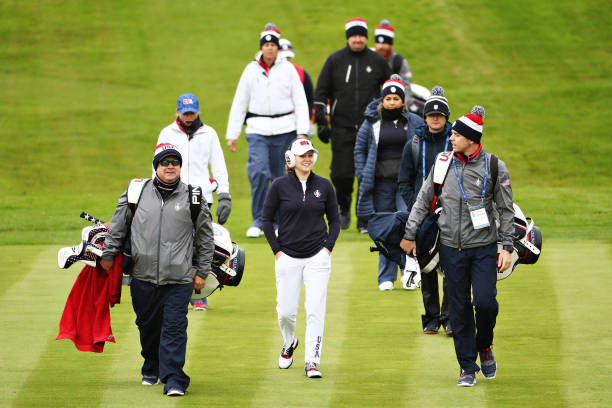 Ally McDonald Lizette Salas and Angel Yin all of Team USA play a practice round during Preview Day 4 of The Solheim Cup at Gleneagles on September 12...