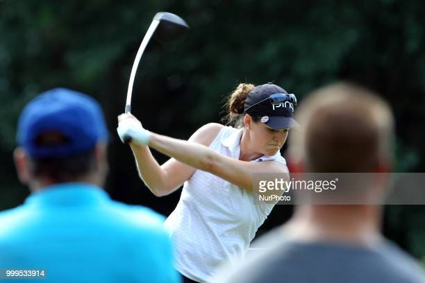 Ally McDonald of Fulton Mississippi hits from the 3rd tee during the final round of the Marathon LPGA Classic golf tournament at Highland Meadows...
