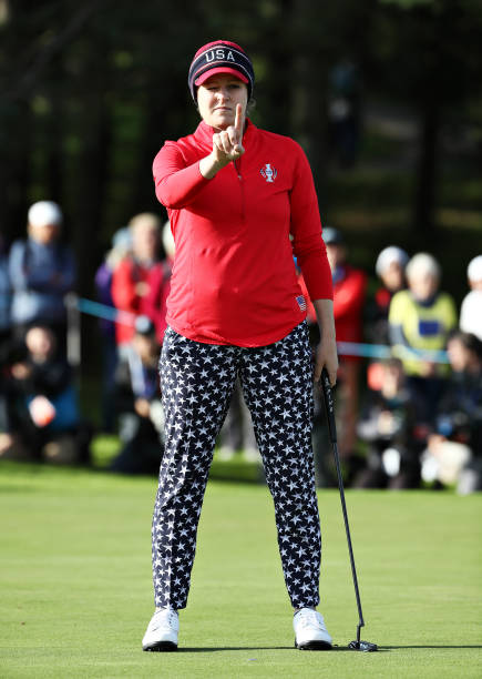 Ally McDonald of Team USA lines up a putt on the thirteenth green during Day 1 of The Solheim Cup at Gleneagles on September 13 2019 in Auchterarder...