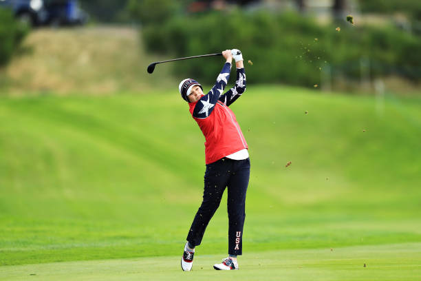 Ally McDonald of Team USA plays her second shot on the second hole during Day 2 of the Solheim Cup at Gleneagles on September 14 2019 in Auchterarder...