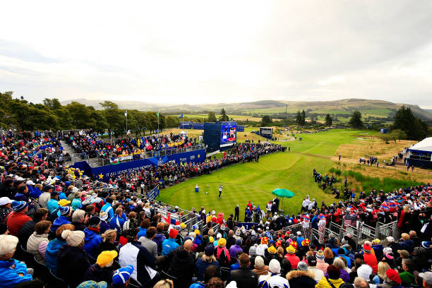 Ally McDonald of Team USA plays her shot from the first tee during Day 2 of the Solheim Cup at Gleneagles on September 14 2019 in Auchterarder...