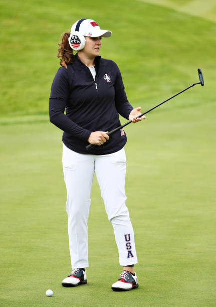 Ally McDonald of Team USA reacts after playing a shot on a practice round during Preview Day 4 of The Solheim Cup at Gleneagles on September 12 2019...