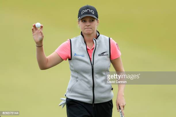 Ally McDonald of the United States acknowledges the crowd on the 18th green during the second round of the Ricoh Women's British Open at Kingsbarns...
