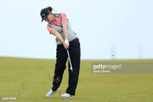 Ally McDonald of the United States hits her second shot on the 17th hole during the second round of the Ricoh Women's British Open at Kingsbarns Golf...