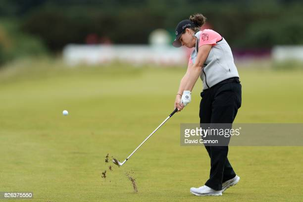 Ally McDonald of the United States hits her second shot on the 18th hole during the second round of the Ricoh Women's British Open at Kingsbarns Golf...