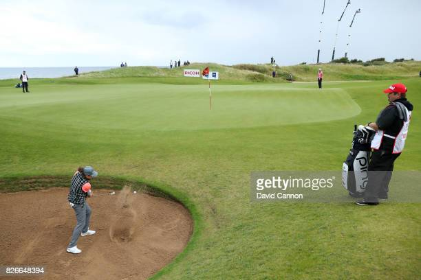 Ally McDonald of the United States hits her second shot on the 1st hole during the third round of the Ricoh Women's British Open at Kingsbarns Golf...