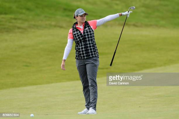 Ally McDonald of the United States hits her second shot on the 3rd hole during the third round of the Ricoh Women's British Open at Kingsbarns Golf...
