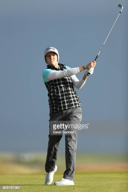 Ally McDonald of the United States hits her second shot on the 4th hole during the first round of the Ricoh Women's British Open at Kingsbarns Golf...