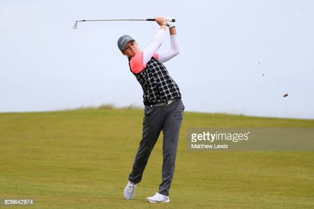 Ally McDonald of the United States hits her second shot on the 4th hole during the third round of the Ricoh Women's British Open at Kingsbarns Golf...