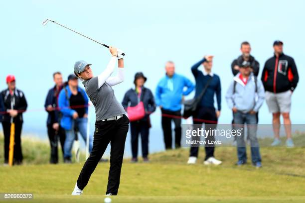 Ally McDonald of the United States hits her second shot on the 4th hole during the final round of the Ricoh Women's British Open at Kingsbarns Golf...