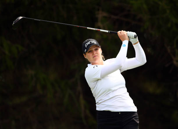 Ally McDonald of the United States hits her tee shot on the 14th hole during the first round of the CP Women's Open at Magna Golf Club on August 22...