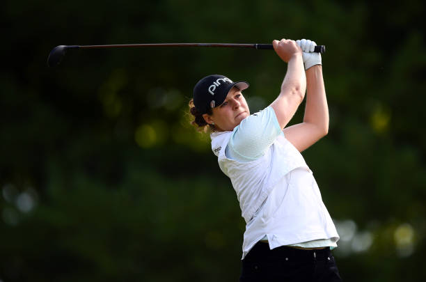 Ally McDonald of the United States hits her tee shot on the 2nd hole during the second round of the CP Women's Open at Magna Golf Club on August 23...