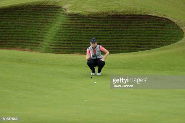 Ally McDonald of the United States lines up a putt on the 17th green during the second round of the Ricoh Women's British Open at Kingsbarns Golf...