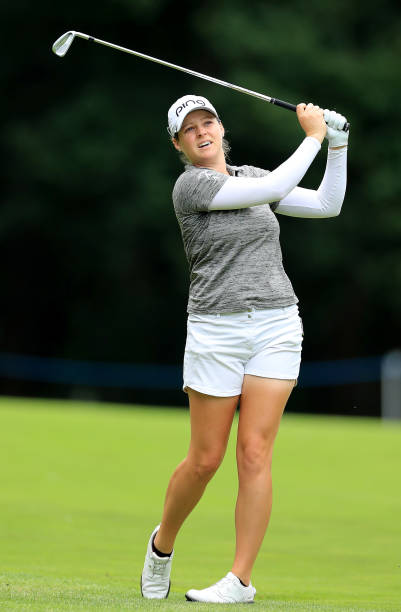 Ally Mcdonald of the United States plays her second shot on the par 4 third hole during the final round of the AIG Women's British Open on the...