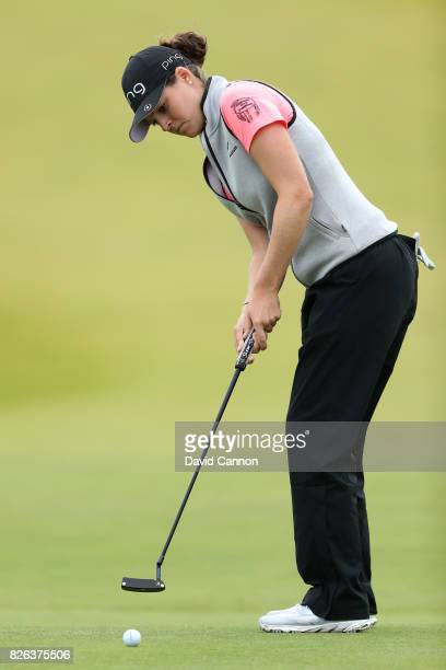 Ally McDonald of the United States putts on the 18th green during the second round of the Ricoh Women's British Open at Kingsbarns Golf Links on...