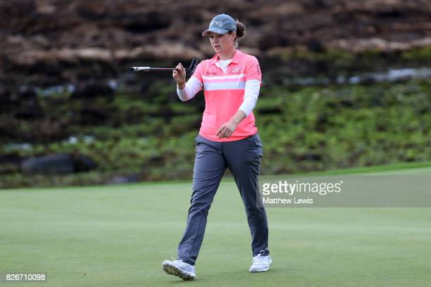 Ally McDonald of the United States reacts on the 14th green during the third round of the Ricoh Women's British Open at Kingsbarns Golf Links on...