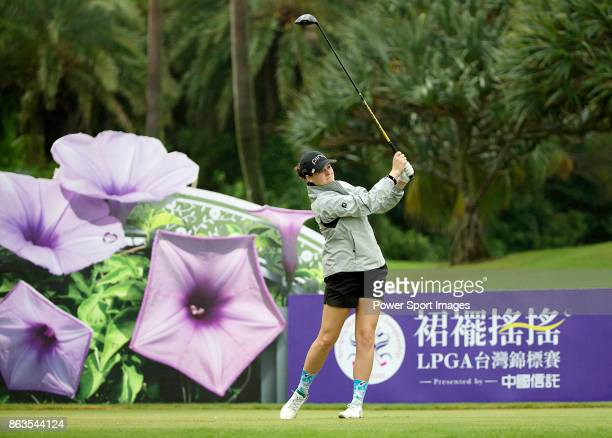 Ally McDonald of the United States tees off on the 12th hole during day two of the Swinging Skirts LPGA Taiwan Championship on October 20 2017 in...