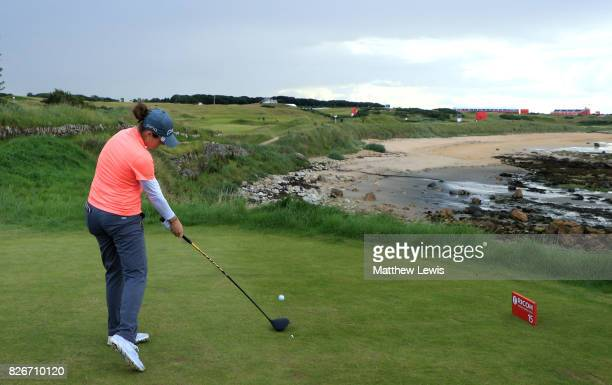 Ally McDonald of the United States tees off on the 15th hole during the third round of the Ricoh Women's British Open at Kingsbarns Golf Links on...