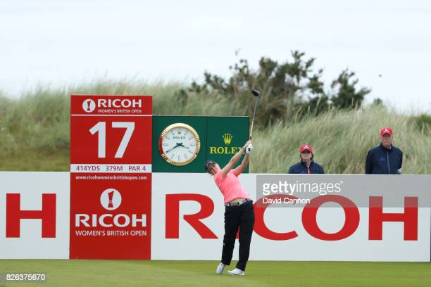 Ally McDonald of the United States tees off on the 17th hole during the second round of the Ricoh Women's British Open at Kingsbarns Golf Links on...