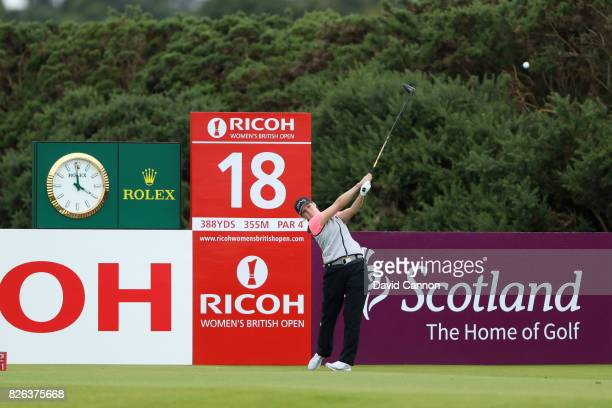 Ally McDonald of the United States tees off on the 18th hole during the second round of the Ricoh Women's British Open at Kingsbarns Golf Links on...