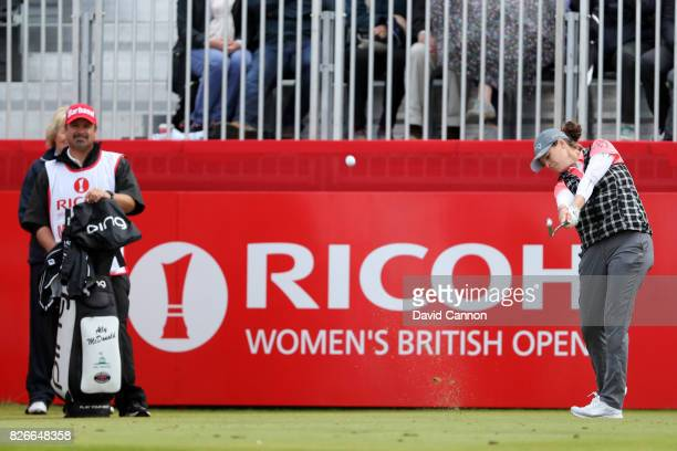 Ally McDonald of the United States tees off on the 1st hole during the third round of the Ricoh Women's British Open at Kingsbarns Golf Links on...