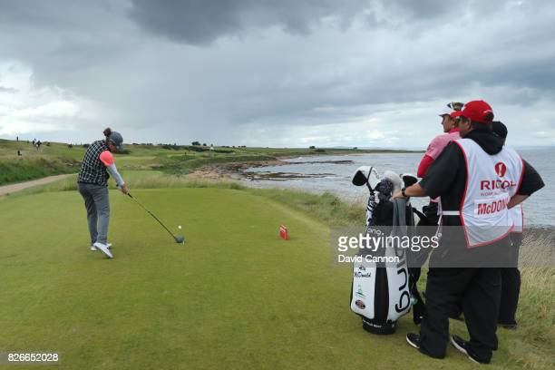 Ally McDonald of the United States tees off on the 2nd hole during the third round of the Ricoh Women's British Open at Kingsbarns Golf Links on...