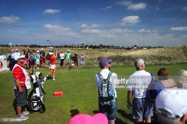 Ally McDonald of the United States tees off on the 5th hole during the final round of the Ricoh Women's British Open at Royal Lytham St Annes on...