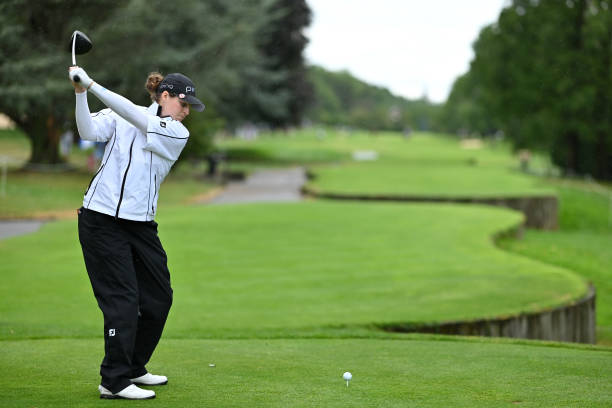 Ally McDonald of the USA in action on the 7th tee during day 4 of the Evian Championship at Evian Resort Golf Club on July 28 2019 in EvianlesBains...