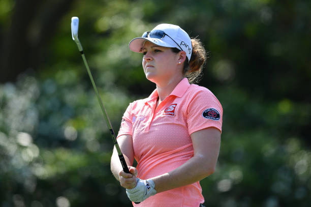 Ally McDonald of United States looks during the second round of the Honda LPGA Thailand at the Siam Country Club Pattaya on February 22 2019 in...