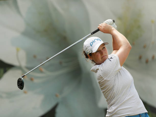 Ally McDonald of United States plays her shot during the second round of the Swinging Skirts LPGA Taiwan Championships at Ta Shee Golf Country Club...