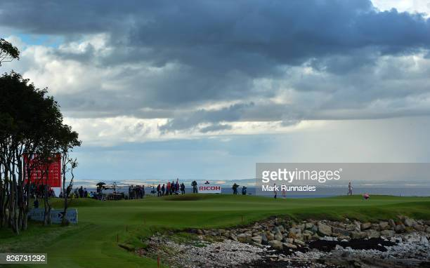 Ally MCDonald of USA and Lexi Thompson of USA at the 14th green during the third day of the Ricoh Women's British Open at Kingsbarns Golf Links on...