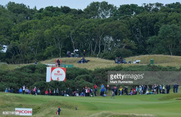 Ally MCDonald of USA and Lexi Thompson of USA at the 6th green during the third day of the Ricoh Women's British Open at Kingsbarns Golf Links on...