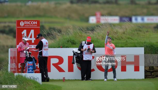 Ally MCDonald of USA checks the wind at the 14th tee during the third day of the Ricoh Women's British Open at Kingsbarns Golf Links on August 5 2017...