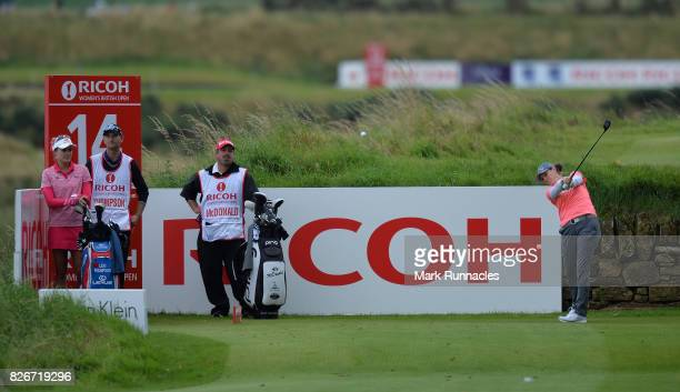 Ally MCDonald of USA plays her tee shot at the 14th tee during the third day of the Ricoh Women's British Open at Kingsbarns Golf Links on August 5...