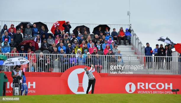 Ally McDonald of USA plays her tee shot at the 1st hole during the final day of the Ricoh Women's British Open at Kingsbarns Golf Links on August 6...