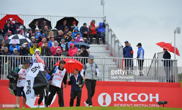 Ally McDonald of USA walks from the 1st tee during the final day of the Ricoh Women's British Open at Kingsbarns Golf Links on August 6 2017 in...