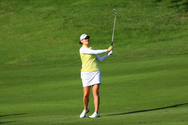 Ally McDonald plays a shot during a proam round prior to the Walmart NW Arkansas Championship Presented by PG at Pinnacle Country Club on June 27...