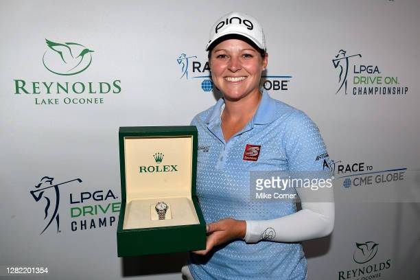 Ally McDonald poses with a Rolex as a Rolex FirstTime Winner after winning the 2020 LPGA Drive On Championship at Reynolds Lake Oconee on October 25...