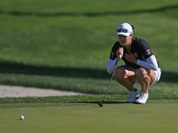 Ally McDonald putts on the 11th hole during the second round of the ANA Inspiration on the Dinah Shore course at Mission Hills Country Club on April...